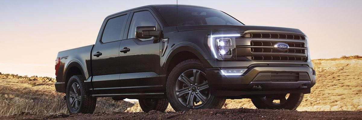 New 2021 Ford F-150 parked ontop of scenic hill