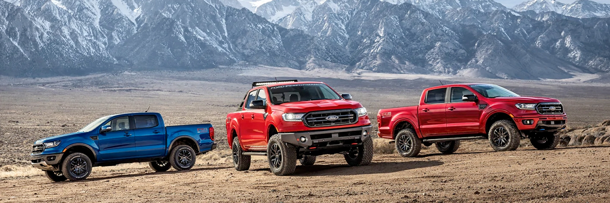 2021 Ford Ranger lineup with mountain range background