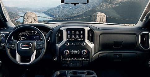 Interior shot of the dashboard in a 2021 GMC Sierra 1500