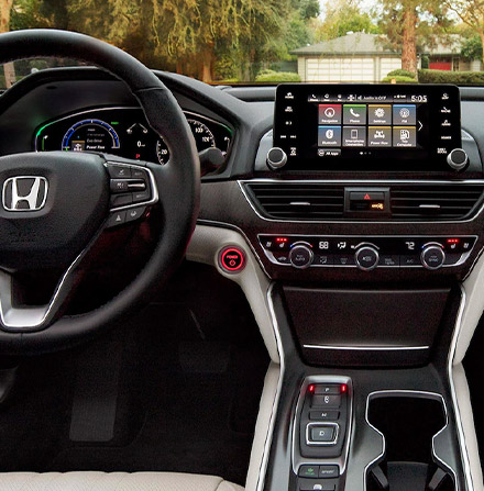 interior view of 2021 honda accord showcasing drivers dashboard and digital screen
