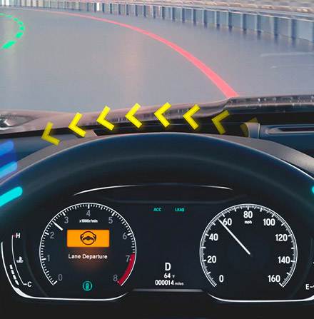 illustration of 2021 honda accord dashboard showcasing road departure mitigation system