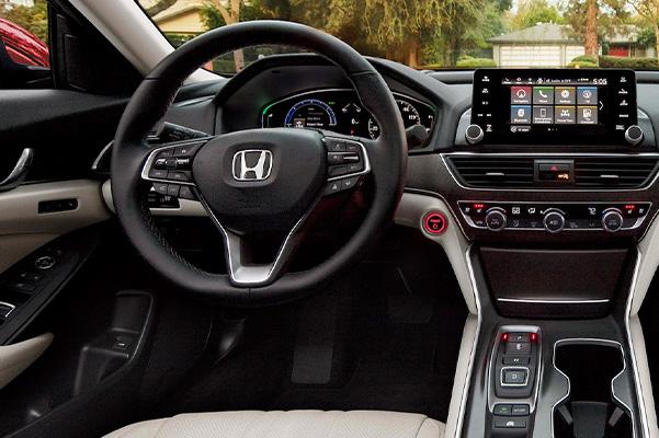 interior view of 2021 honda accord showcasing drivers dashboard and digital screen