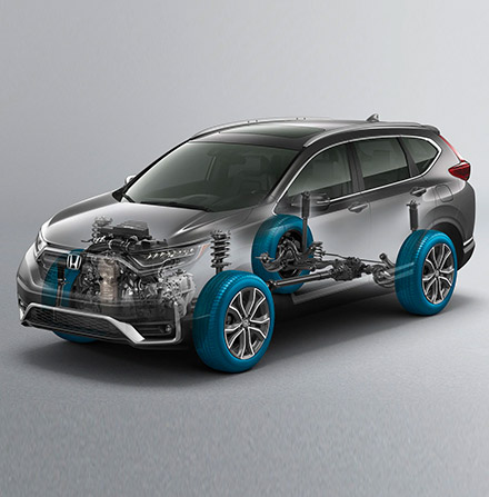 Front ¾ driver-side view of 2021 Honda CR-V with Real Time all-wheel-drive™ overlay graphic.
