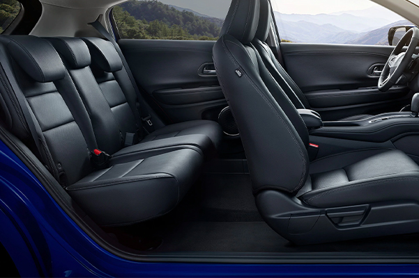 Interior profile view of the 2021 Honda HR-V EX-L with Black Leather.