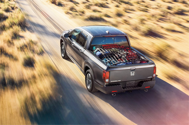 Top view of 2021 Honda Ridgeline driving on the road