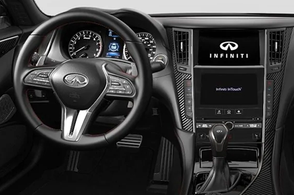 2021 INFINITI Q50 Interior with Gallery White Semi-Aniline Leather Seats and Black Matte Carbon Fiber Trim