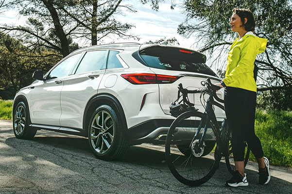 2021 INFINITI QX50 rear with bicycle