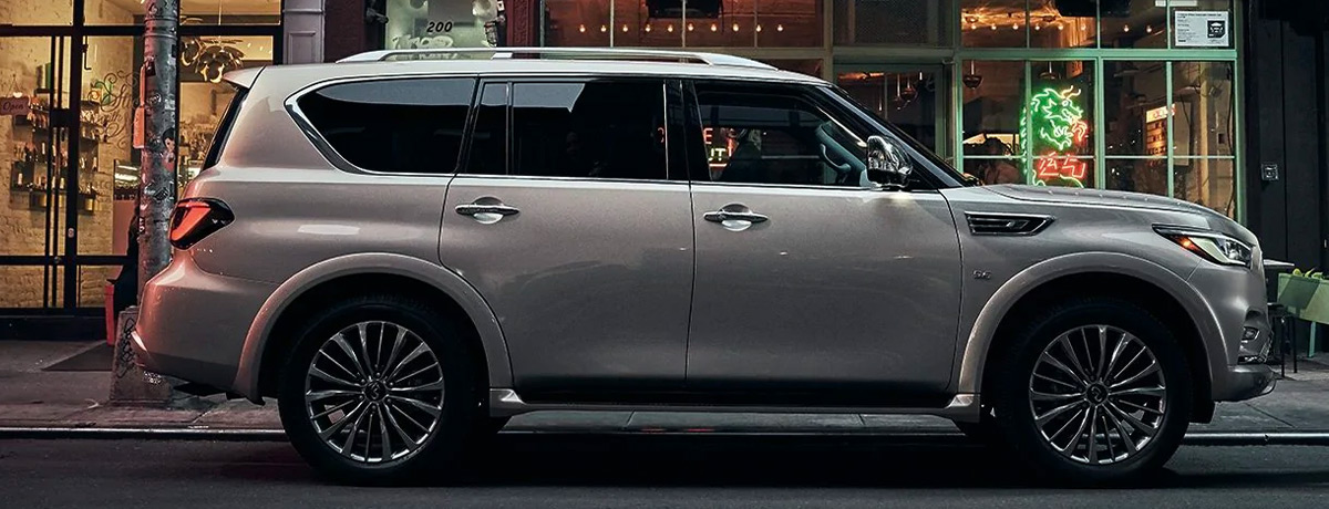 2021 INFINITI QX80 SUV | Exterior Side Profile View Of QX80 Shown In Champagne Quartz Color