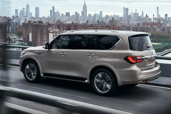 2021 INFINITI QX80 SUV | Side Profile View Of QX80 Highlighting All-Mode 4WD Performance Feature