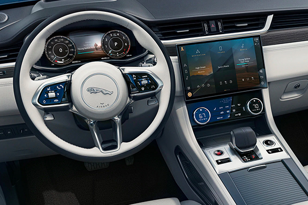 Jaguar Steering Wheel and Center Console with Touchscreen.