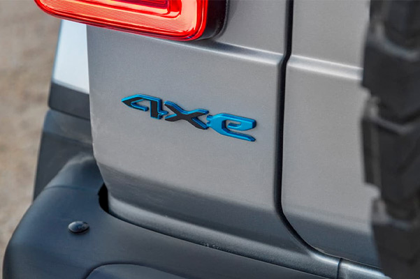 A rear view of the 2021 Jeep Wrangler 4xe logo