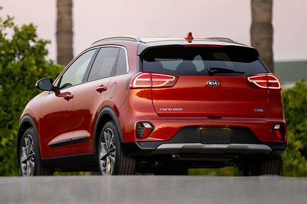 rear view of a parked red 2021 Kia Niro