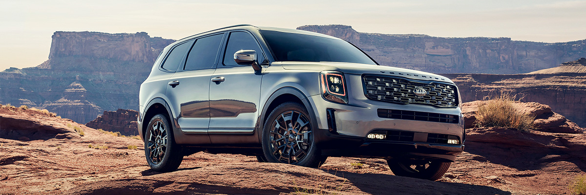 Kia Telluride on desert road. Profile view.