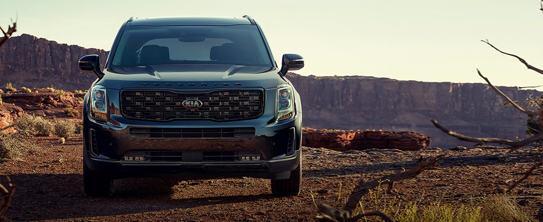 front view of the 2021 kia telluride in the canyons