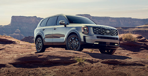 side view of the 2021 kia telluride in the canyons