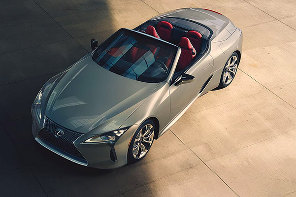 Aerial view of the Lexus LC shown parked in an emty lot
