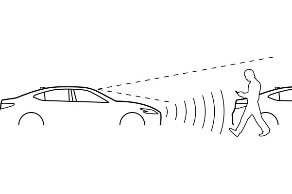 Lexus Safety System+ icon: PRE-COLLISION SYSTEM WITH PEDESTRIAN DETECTION