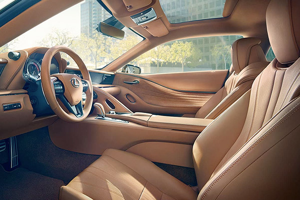 Interior of the Lexus LC shown in Toasted Caramel leather.