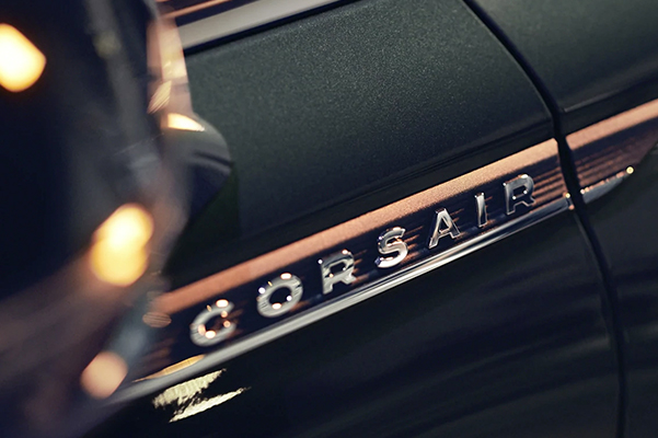 The chrome door badge on the 2021 Lincoln Corsair is an elegant symbol of luxury and artistry