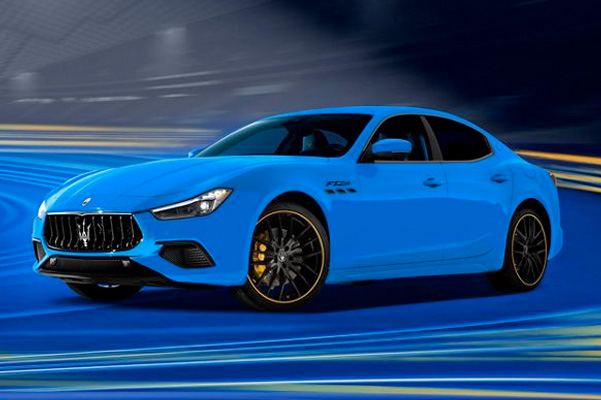Blue 2021 Maserati Ghibli driving