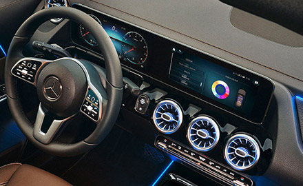 interior view of Mercedes benz gla crossover featuring touchscreen multimedia display