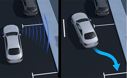 illustration showcasing Active Parking Assist feature
