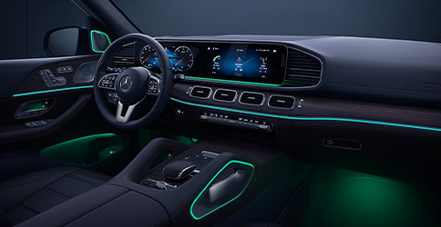Standard dual 12.3-inch screens and 64-color lighting deliver information with ambience in the 2021 Mercedes-Benz G L E