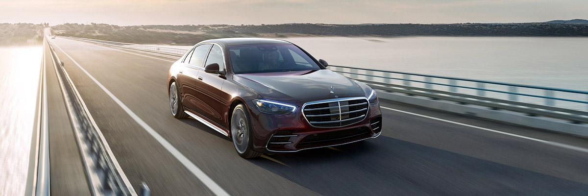 2021 Mercedes-Benz S-Class driving on bridge