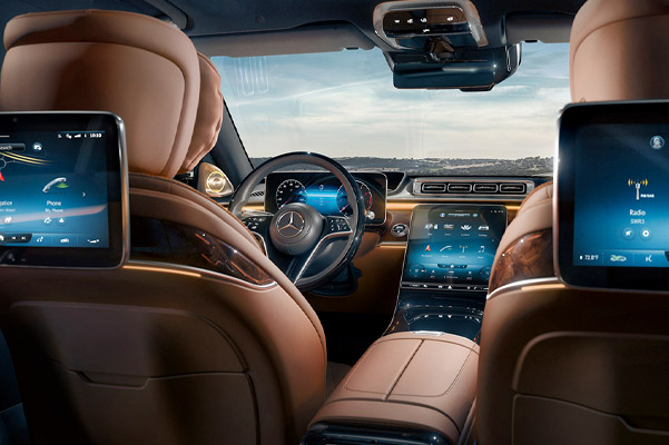 2021 Mercedes-Benz S-Class view of dash and front seats with screen on them