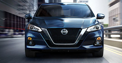 Front of a blue Nissan Altima