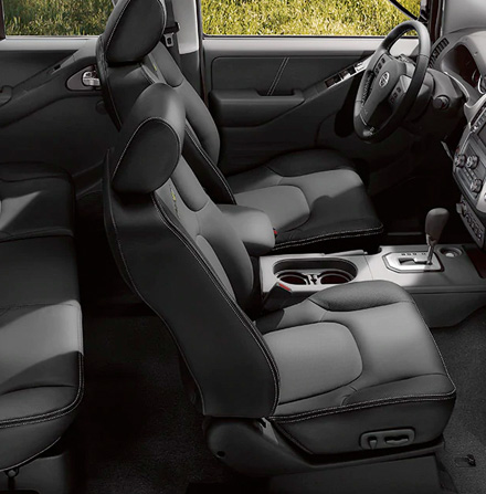 2021 Nissan Frontier interior showing leather front seats