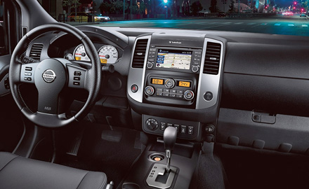 2021 Nissan Frontier view showing steering wheel and center console