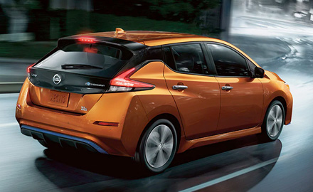 Orange Nissan leaf