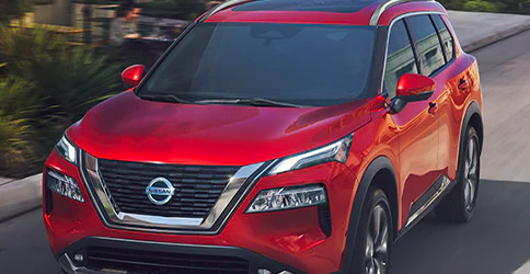 2021 Nissan Rogue in Scarlet Ember red