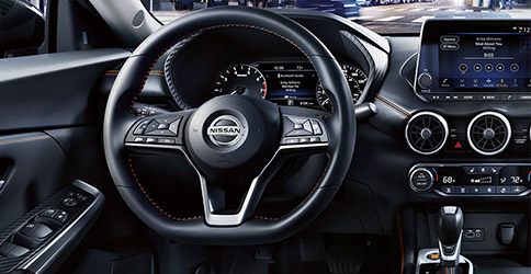 2021 Nissan Sentra showing D-shaped steering wheel