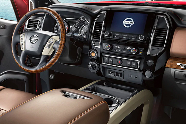 2021 Nissan TITAN leather wrapped steering wheel