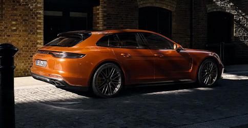 Orange 2021 Porsche Panamera rear view