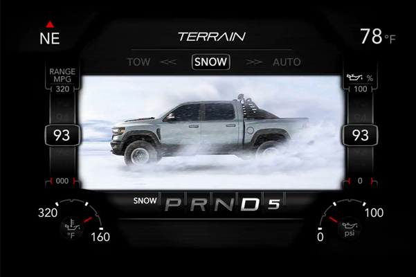 A close-up of the digital cluster display on the 2021 Ram 1500 TRX displaying the settings for the Snow Mode.
