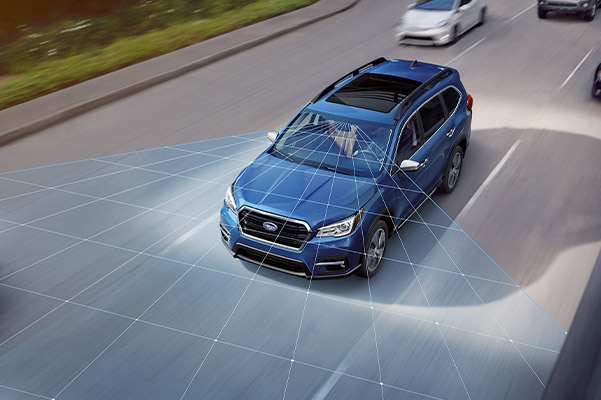 A photo illustration showing the standard EyeSight® Driver Assist Technology sensors on the Subaru Ascent.