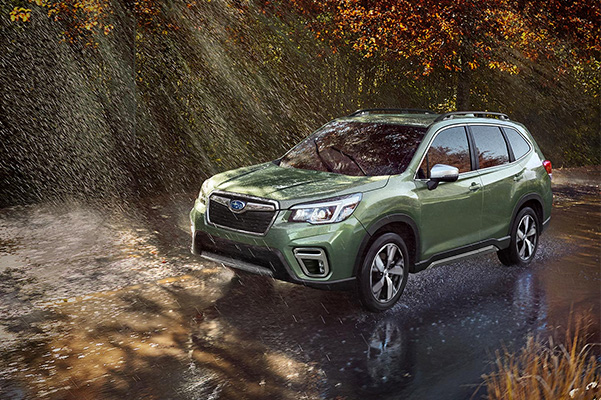 2021 Subaru Forester driving through rain