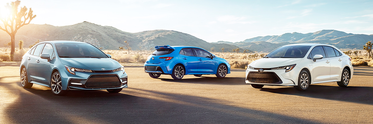Left to right: XSE shown in Celestite. XSE Hatchback shown in Blue Flame with available accessory rear window spoiler. Hybrid LE shown in Blizzard Pearl.