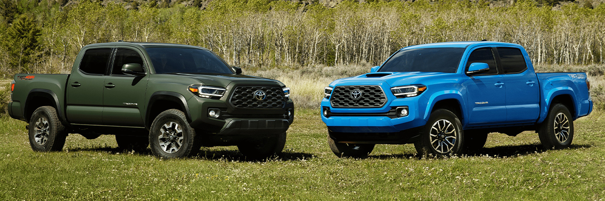 TRD Off-Road Double Cab shown in Army Green and TRD Sport shown in Voodoo Blue