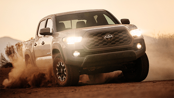 TRD Off-Road Double Cab shown in Cement with available TRD Off-Road Premium Package, Advanced Technology Package 85 and LED headlights and fog lights