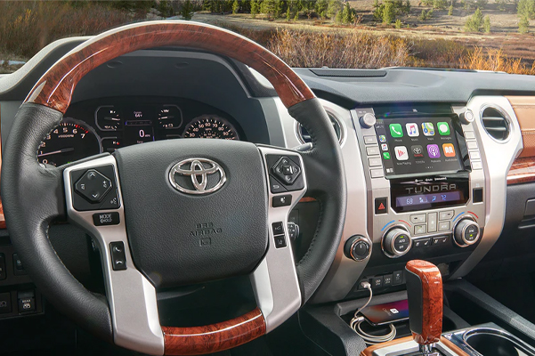 interior view of Toyota Tundra showcasing interior dashboard design and digital screen