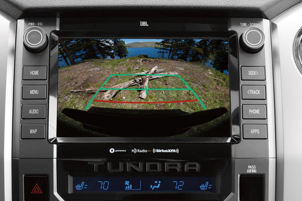 close up of digital screen featuring backup camera on the screen