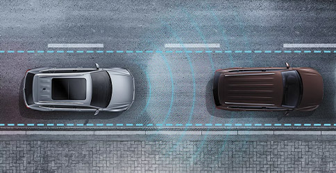 Glowing lines emit from the Tiguan to illustrate distance from the car in front of it.