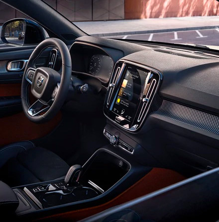 Inside a Volvo XC40 with black interior