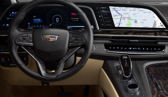 2022 Cadillac Escalade Premium Luxury; interior image seen in Parchment