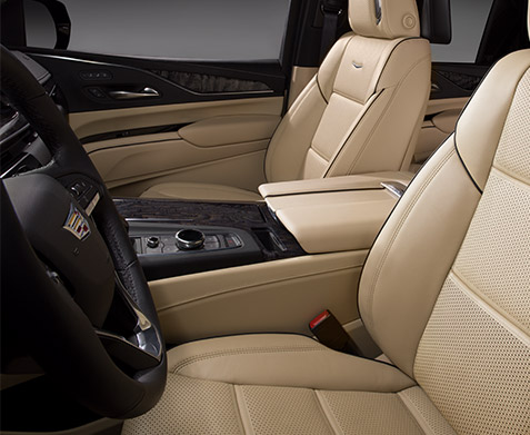 2022 Cadillac Escalade Premium Luxury; interior image seen in the color Parchment