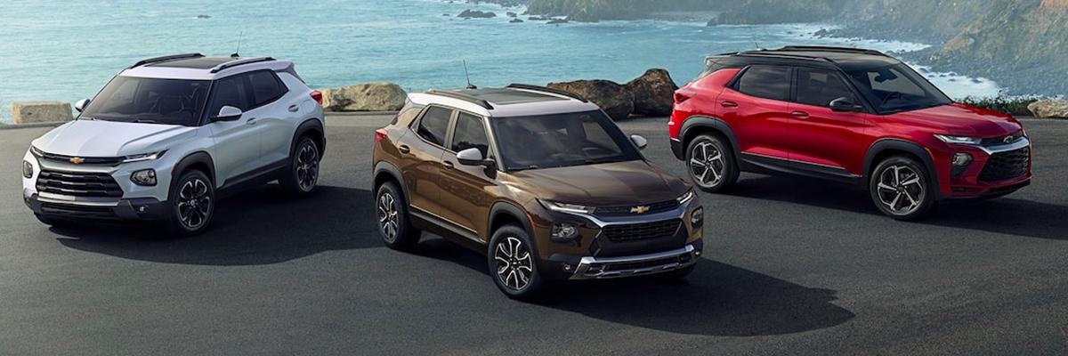 2022 Chevrolet Trailblazer SUVs in summit white, zeus bronze metallic & Crimson metallic